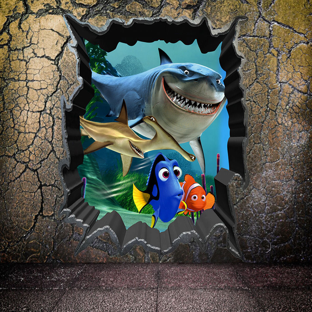 Cartoon Finding Nemo Wall Stickers Sea Fish 3D View Decals Kids Room