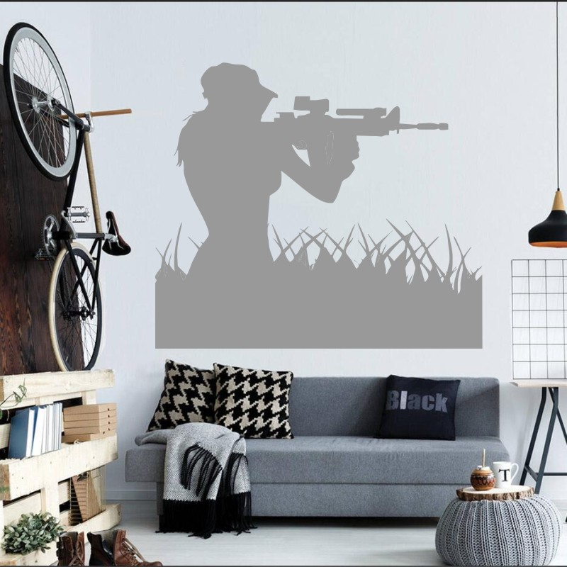 Air Force Woman Sniper Soldier Wall Sticker Art Design Home Livingroom Creative Wall Mural Girl Sniper Silhouette Decal M 66 in Wall Stickers from Home Garden