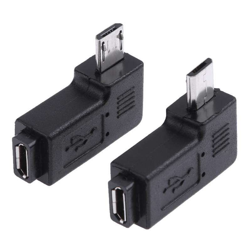 2pcs/lot 90 Degree Left & Right Angled Micro USB 5pin Female to Micro USB Male Data Adapter Plug Micro USB To Mini USB Connector mini usb female to micro usb male adapter black