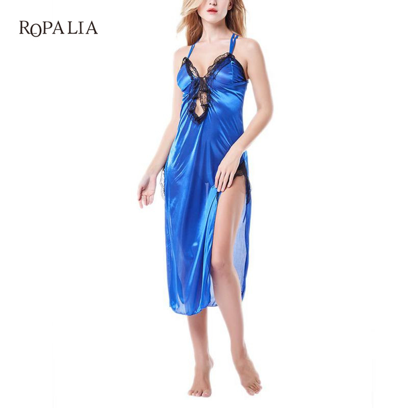 2018 Women Soft Sleeveless Nightgowns Sexy Lace Patchwork V-neck Female Sleep Dress With Panties W9