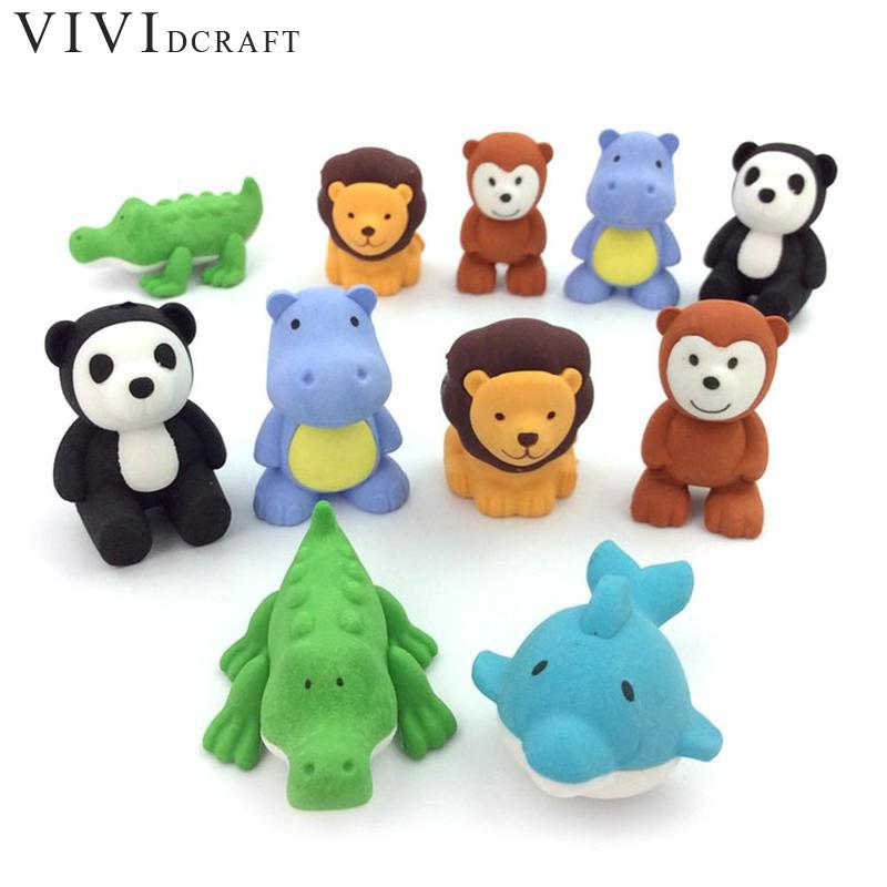 Color Random Cute Cartoon Animal Rubber Eraser Kawaii Stationery School Supplies Papelaria Gift Toy For Kids Penil Eraser