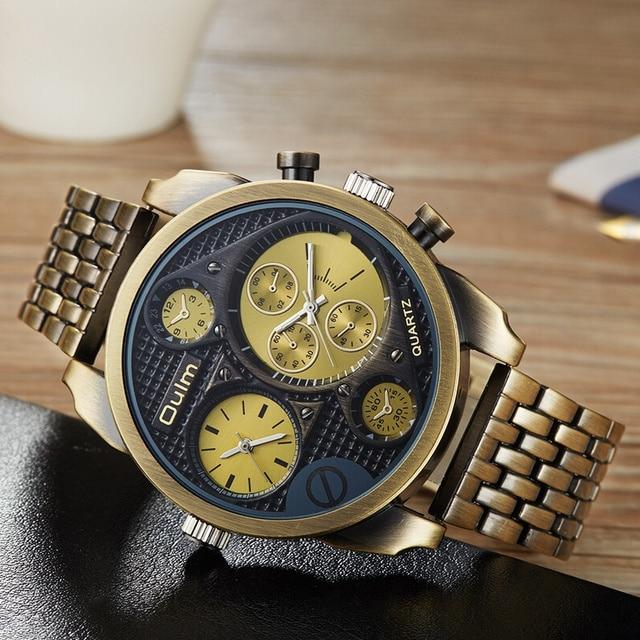 4f8c43bbbaa Esportes Relógios Men Luxo Marca Oulm Design Exclusivo Dois Fuso Horário  Relógio de Quartzo Grande Macho