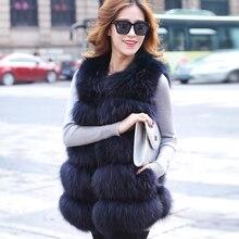 Out013 Colete De Pele Blue Fox Vest Sobretudo Feminino Mink Real Value Fur Coat Magista Genuine Leather Jacket Fourrure Long