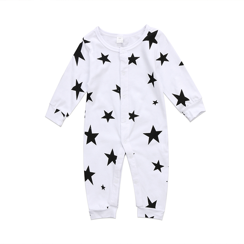 0-18M Newborn Infant Baby Boy Girl Long Sleeve Star Print Cotton   Romper   Jumpsuit Outfits Baby Clothes