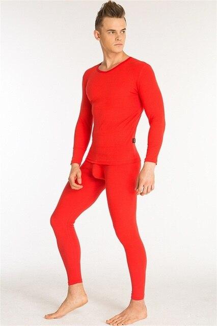 1c938a1a91cc0 Winter Underwear Cotton Long Johns O-Neck Winter Underwear Men Fashion Pure  Color Thermal Men