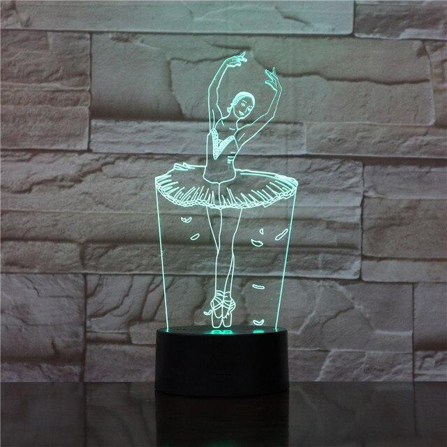 GX1711 3D Illusion Lamp Ballet Girl LED USB 3D Night Lights 7 Colors  Flashing Novelty LED 3dc4b8b0159a