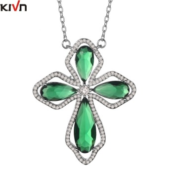 KIVN Fashion Jewelry CZ Cubic Zirconia Womens Girls Wedding Bridal Cross Pendant Necklaces Birthday Gifts 10pcs Lots Wholesale
