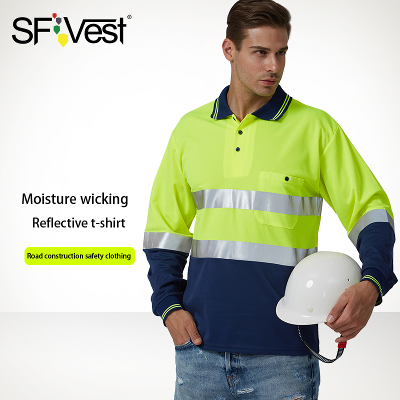 SFVest High visibility safety work polo t-shirt Moisture Wicking Fabric heated bright silver reflective t-shirtSFVest High visibility safety work polo t-shirt Moisture Wicking Fabric heated bright silver reflective t-shirt