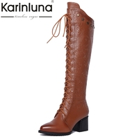 KarinLuna Top Quality Fashion Genuine Leather Size 34 42 Women Shoes Woman Square Heels Zip Up