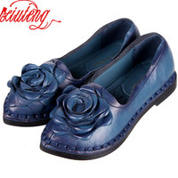 2016 Retro Shoe For Women Handmade Shoes Genuine Leather Soft Safe Flats Autumn Driving Shoes Pointed
