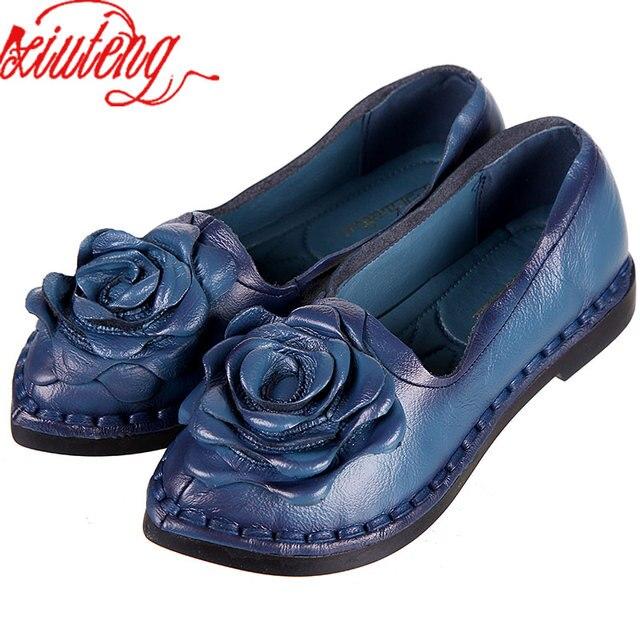 Xiuteng 2018 Ayakkabı Kadınlar Için El Yapımı Ayakkabı Hakiki Deri Yumuşak Güvenli Daireler Sonbahar sürüş ayakkabısı Sivri Burun Kadın Daireler 5 Renk