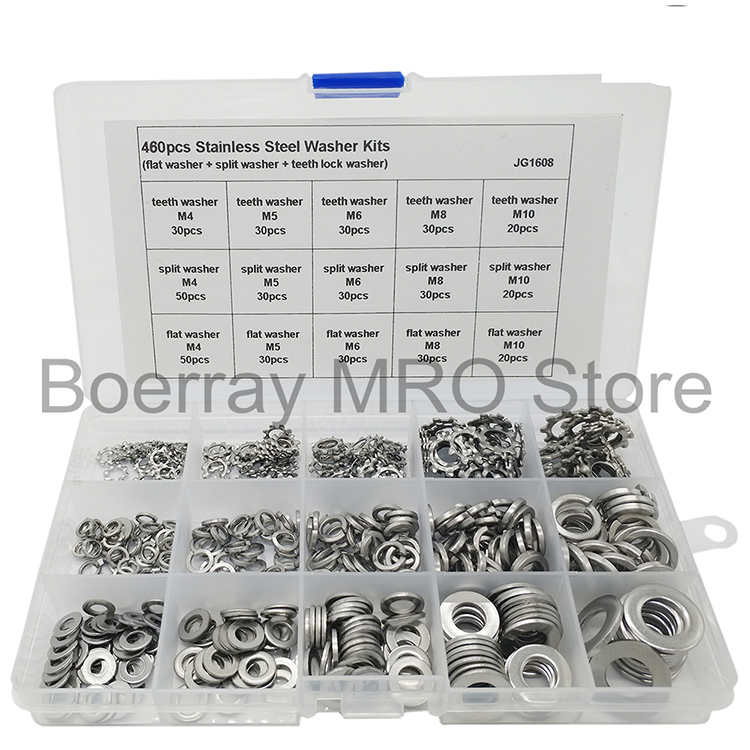 M10 Tooth Lock Washer Assortment Kit M4 460pcs 5 Sizes Stainless Steel Flat
