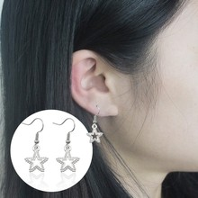 Fashion Shiny Silver Star Earrings Female Hollow Five-Pointed Pendant Jewelry Christmas Gifts