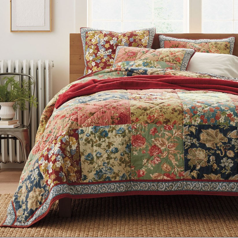 chausub handmade patchwork quilt set 3pcs 100 cotton quilted bedspread american floral bed. Black Bedroom Furniture Sets. Home Design Ideas
