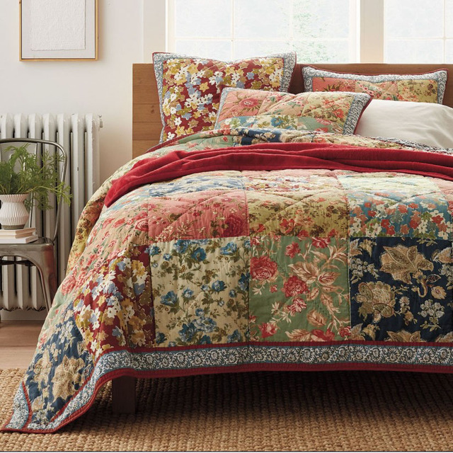 Superb CHAUSUB Handmade Patchwork Quilt Set 3PCS 100% Cotton Quilted Bedspread  American Floral Bed Cover Quilts