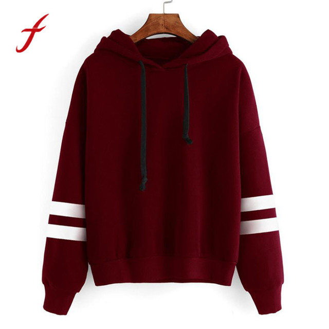 Womens striped Hoodie Sweatshirt Jumper Hooded Pullover Tops Long Sleeve  Clothes Burgundy Black for Girls c73767735