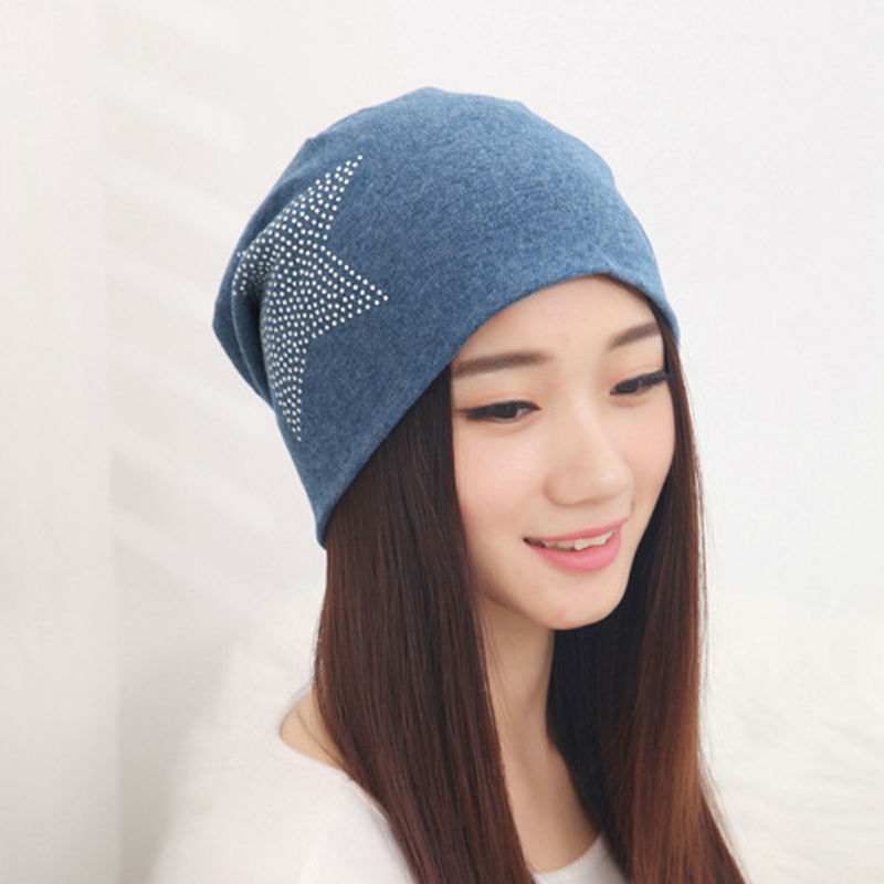 Detail Feedback Questions about Soft Warm Slouchy Knitted Hat Women s  Winter Cap Cotton Blends Bonnet Ladies Hat Female Elegant Rhinestone Star  Beanies For ... a7bb5596f68