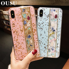 OUSU Patchwork Soft TPU Cover For iphone xs max Case xr Luxury Blinking Rhinestone 6s 7 8 plus Full Protection