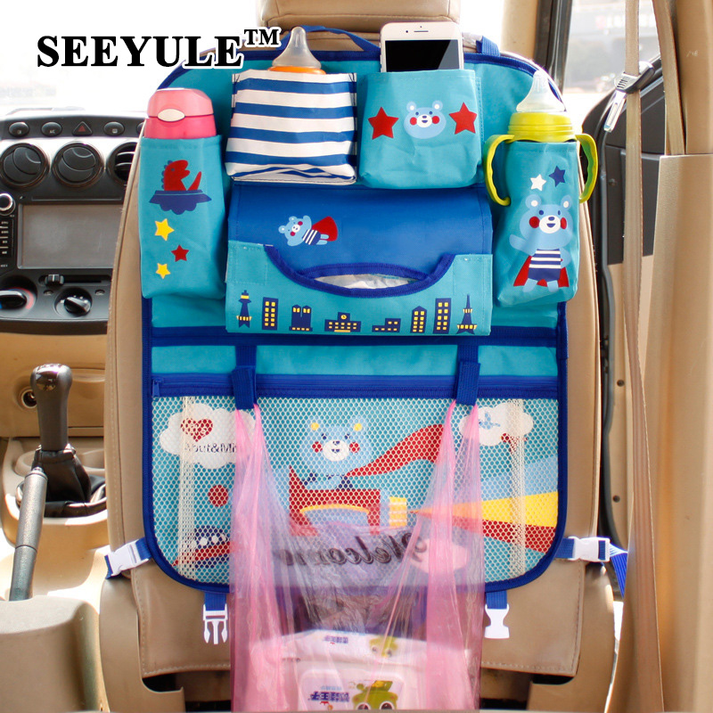 1pc SEEYULE New Arrival Cute <font><b>Car</b></font> <font><b>Seat</b></font> Back Organizer Cover Storage Bag Container for Baby Kid Tissue Umbrella Drink Holder