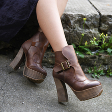 Original vintage waterproof chunky heels high women boots genuine leather belt buckle ankle