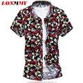 LONMMY Más tamaño 6XL flor Floral de La Moda de los hombres camisa de vestir Casuales para hombre camisas camisa masculina camisas de manga Corta 2017 verano