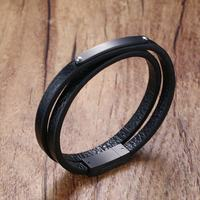 Stunning Mens Genuine Leather Double Wrap Around Bracelets Stainless Steel ID Tag for Men Women Punk Bangle Wristband Jewelry