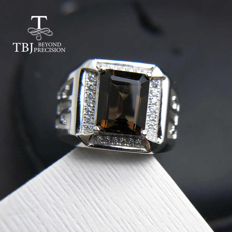 TBJ new men s ring with natural smoky quartz in 925 sterling silver gemstone jewelry best