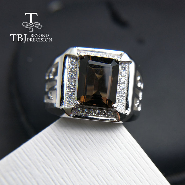 TBJ, 2017 new men's ring with natural smoky quartz in 925 sterling silver gemsto