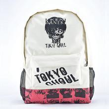 Hot style sur vente kaki couleur unisexe imprimé tête sacs à dos adolescents japonais anime sacs d'école mochila tokyo ghoul sac à dos
