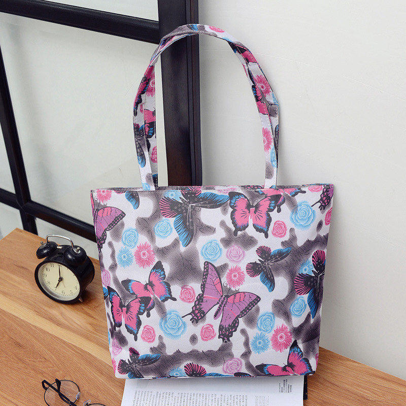Fashion Butterfly Flower Patttern Waterproof Polyester Women Shoulder Bag  Shopper Handbag Beach Bag Lunch Bag Tote Zipper 2525356dee756