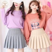 New High Waist A Line pleated skirts Harajuku Lolita Gray White Black a line sailor skirt Cosplay Japanese school Skirts uniform