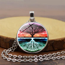 2018 New Tree of life time gem alloy The Necklace Fashion Female Men Pendant Silver Gold Color Simple Necklaces For Women(China)