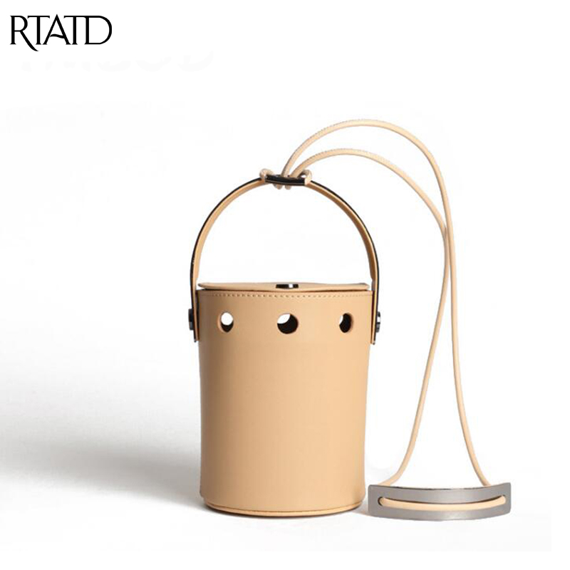 RTATD New Classic Small Panelled Bucket Tote Women Split Leather Handbags Vintage Ladies Messenger Bags B245 2017 new classic bucket messenger bags popular tote lady split leather handbags women chains shoulder bags bolsas qn250