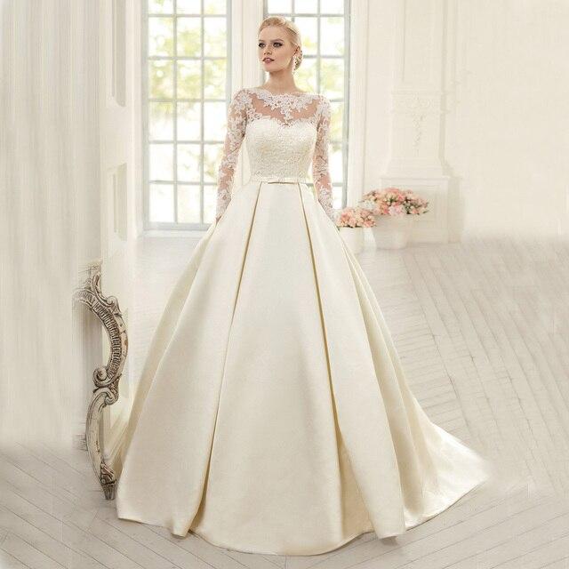 Elegant Wedding Dresses 2017 : Buy elegant long sleeve ball gown wedding dress satin bridal