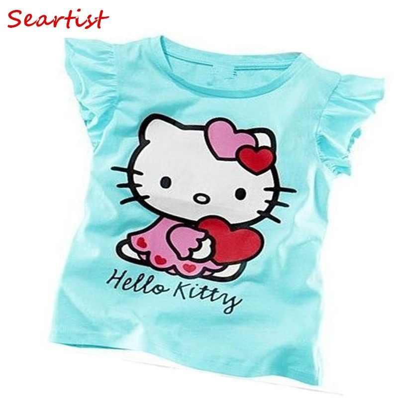 5f715596b Camiseta corta para niñas de verano con Hello Kitty, camiseta para niñas,  ropa para bebés, ropa para niñas, ropa para bebés, ropa para bebés ...