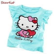 Free Shipping 2014 Baby Girls Hello Kitty Short Sleeve Tshirt Children Summer Clothes Kids T-shirt