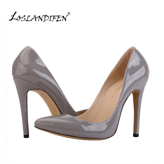 Loslandifen sexy señaló zapatos de tacón alto de las mujeres bombean los zapatos de primavera estampado de leopardo marca de diseño zapatos de boda bombas de la ue tamaño 35-42 302-1 pa