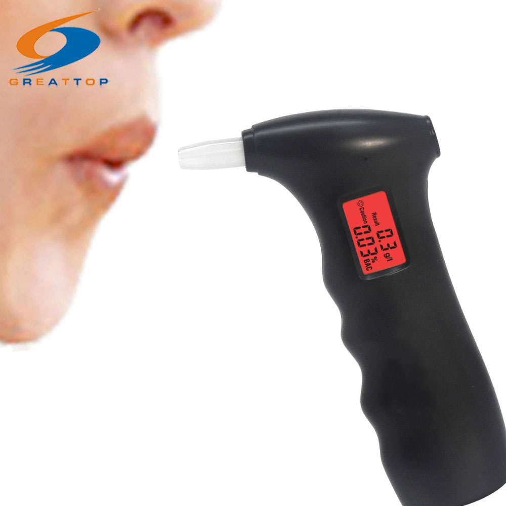 Backlit Digital Breath Alcohol Tester High Precision Breathalyzer Alcohol Detector with 5 Mouthpieces Free Shipping