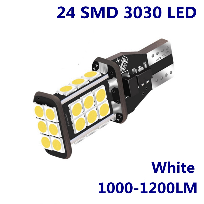 2PCS T15 W16W 921 912 Super Bright 1200Lm 3030 SMD LED CANBUS NO OBC ERROR Car Backup Reserve Lights Bulb Tail Lamp Xenon White