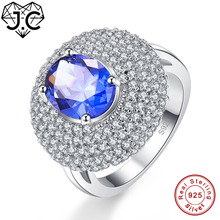 J.C Fine Jewelry Oval Cut Rainbow & Blue & White Topaz 925 Sterling Silver Ring Size 6 7 8 9 For Women Luxury Christmas Gift dupuy 6 8mm oval cut morganite ring