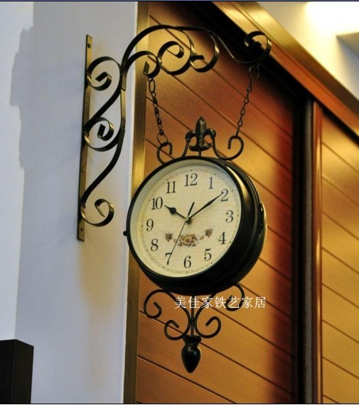 Fashion iron wall alarm clock wall to wall clock fashion mute fashion double faced clock indoor