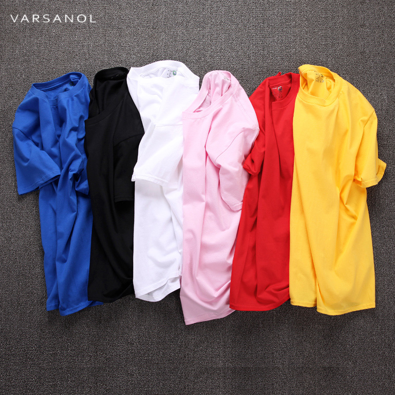Varsanol Blank T-Shirt Men T Shirt Short Sleeve Tshirts Solid Cotton Homme Tee Shirt For Men3XL Hot Sale Summer Clothes Colorful