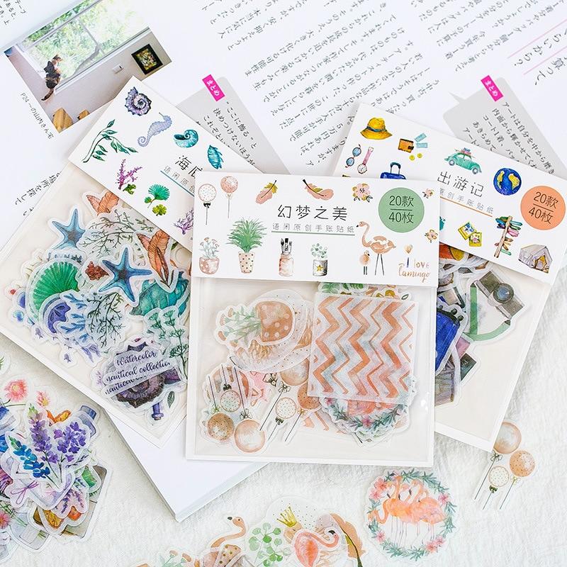 40pcs/ Bag Fantastic Creative Sticker Child DIY Toy Calendar Album Deco Diary Sticker Scrapbooking Planner Sticker Material