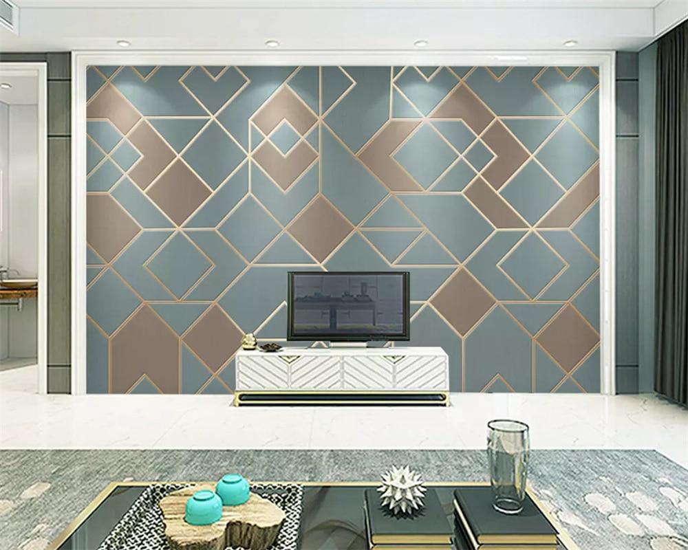 Купить с кэшбэком beibehang Custom wall papers home decor abstract geometric gold lines modern minimalist luxury decorative painting 3d wallpaper
