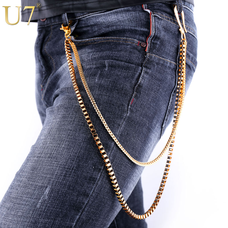 U7 Heavy Gold Color Waist Biker Chain Key Wallet Belt Rock Punk Trousers Motorcyle HipHop Pant Jean Chains For Men Jewelry J004