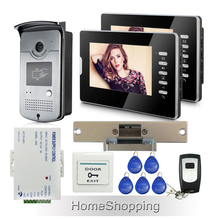 Wholesale Wired 7″ Color Video Door Phone intercom System + 2 Monitors + RFID Door Camera + Electric Strike Lock FREE SHIPPING