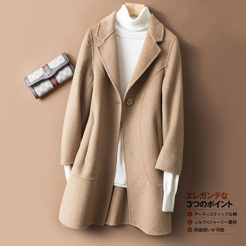 Зимнее шерстяное длинное пальто 2018 JECH Новая мода v образным вырезом Тонкий шерсть дамы шерсть Двусторонняя классический сплошной цвет ткан