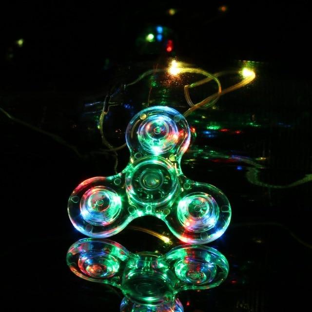 Transparent Crystal Plastic LED Light Hand Spinner Crystal luminous Spinner Fidget New EDC For Autism Focus Anxiety StressToys