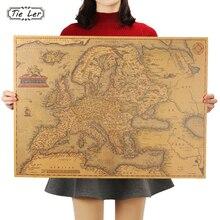 Póster con mapa de Europa de 1570 años de edad, manualidades de papel Retro clásico para decoración del hogar, sala, Bar, Pub 69X51cm
