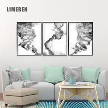 New Chinese Black and White Ink Liquid Diffusion Trajectory Canvas Painting Art Abstract Print Poster Picture Wall Home Decor